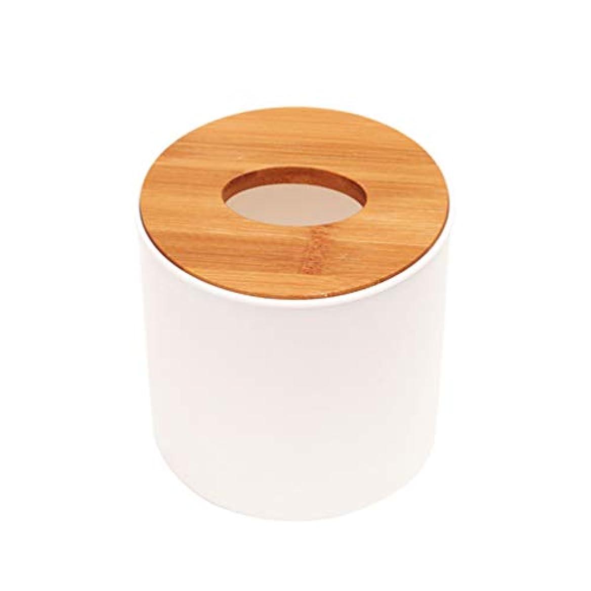 漂流参照する平凡TOPBATHY 2ピースティッシュボックス円筒木製カバープラスチック耐久性のあるティッシュペーパーホルダーオフィスホーム用品白