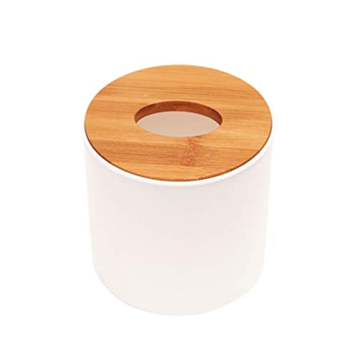 ダメージラフ長老TOPBATHY 2ピースティッシュボックス円筒木製カバープラスチック耐久性のあるティッシュペーパーホルダーオフィスホーム用品白