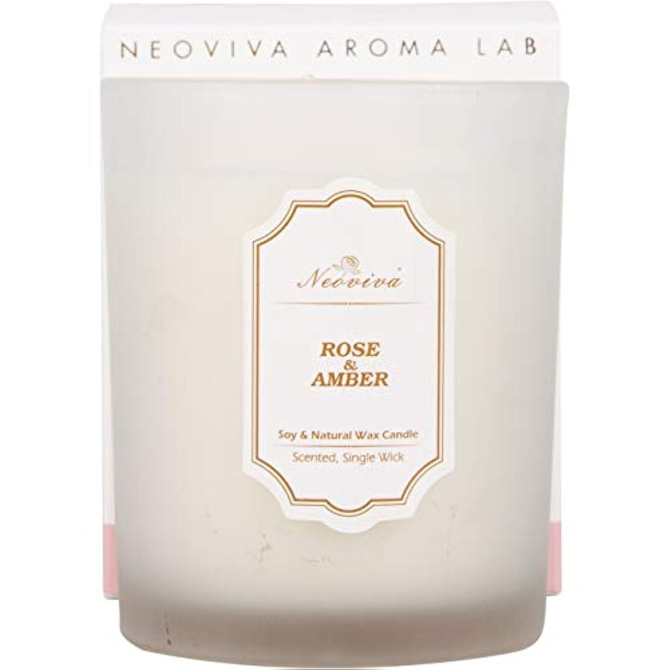 セラーフォーカス重要NEOVIVAアロマキャンドル ソイキャンドル インテリア プレゼント  (ROSE&AMBER, WHITE)