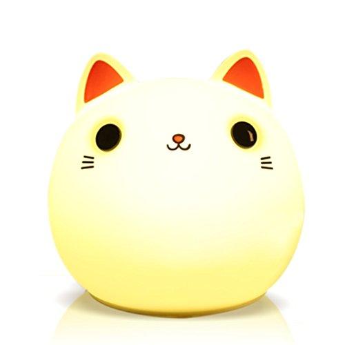 【招き猫呼吸ランプ】LEDテーブルランプ 目に刺激無し ベッドサイドランプ タッチだけで操作できる 8色変色可 USB 充電式 ソフトシリコ...