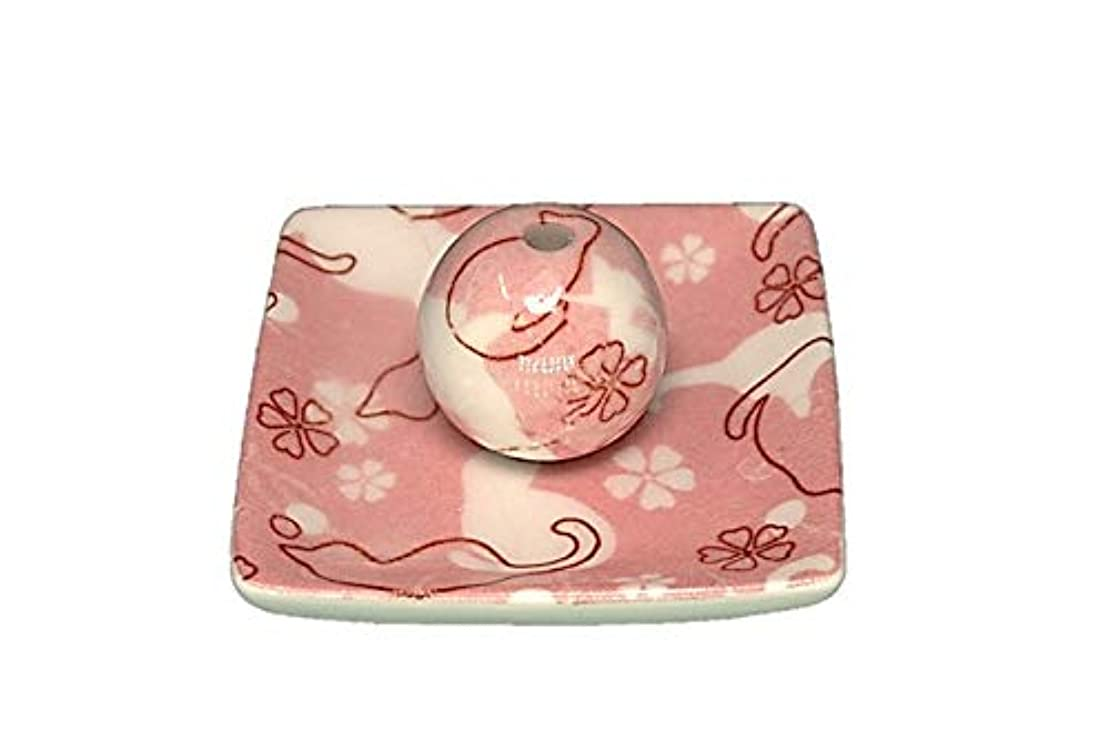 同級生削減ぜいたくネコ ランド ピンク 小角皿 お香立て 陶器 ねこ 製造 直売