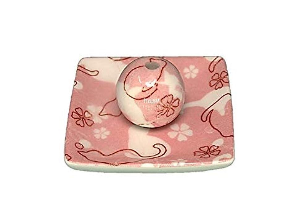 製油所大邸宅仲良しネコ ランド ピンク 小角皿 お香立て 陶器 ねこ 製造 直売