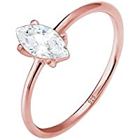 Elli Women Classic Zirconia 925 Sterling Silver Rose Gold Plated Ring