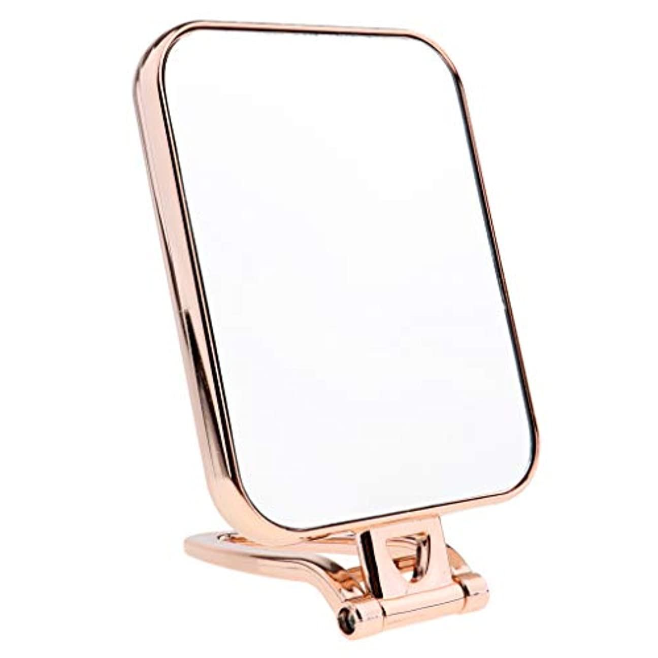 緊張する兄弟愛メトリック3色選択 スクエア 化粧鏡 化粧台ミラー スタンド付き 卓上ミラー 両面ミラー 両面鏡 - ゴールド