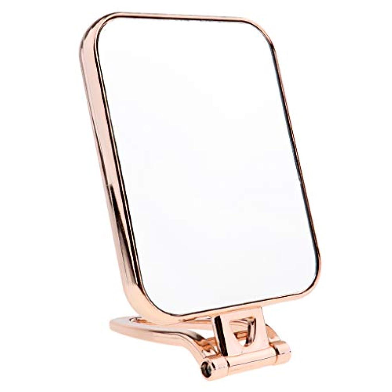 経験歩き回るその結果3色選択 スクエア 化粧鏡 化粧台ミラー スタンド付き 卓上ミラー 両面ミラー 両面鏡 - ゴールド