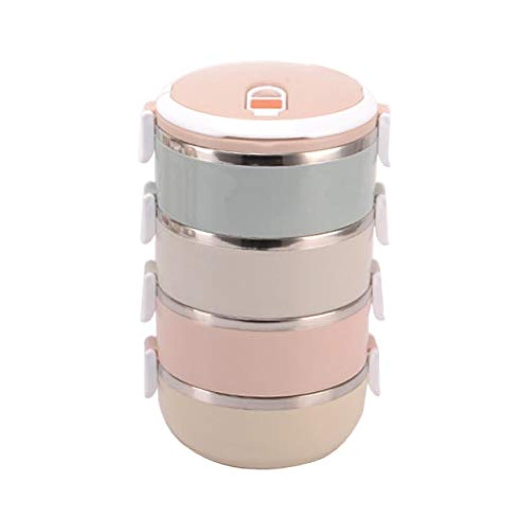 記念品火傷報酬Saikogoods スタイリッシュなポータブル大容量ステンレスランチボックス食品容器キッズ大人のピクニック単一のマルチレイヤーボックス マルチカラー