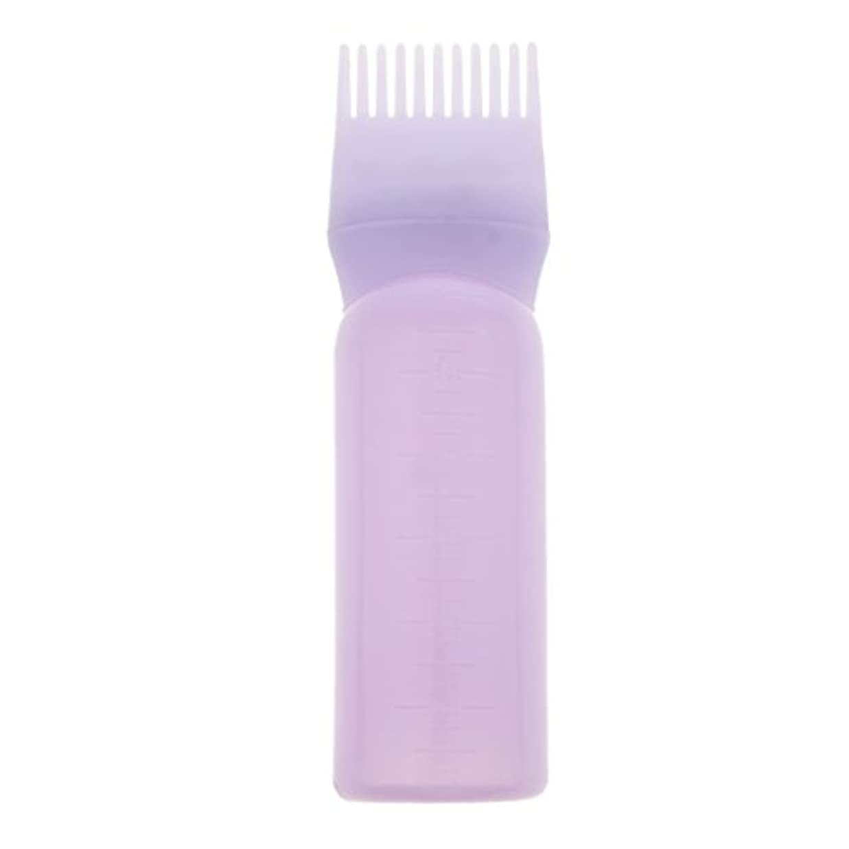 残り欠陥キリマンジャロルートコームヘアダイボトルアプリケーターサロンヘアカラーディスペンサーブラシ(120ml) - 紫