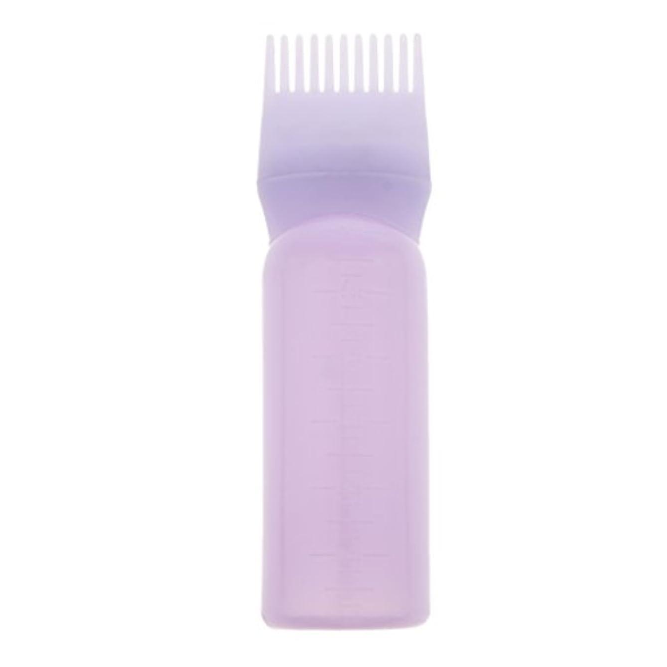表向き速度厳ルートコームヘアダイボトルアプリケーターサロンヘアカラーディスペンサーブラシ(120ml) - 紫