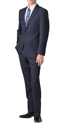 (リクルートスーツ) recruit suit スリムスーツ ウール混 無地 パンツウォッシャブル ブラック/ネイビー ソリッドカラー ビジネス リクルート 就活 スーツ ダークネイビー/A7 [ 身長175~180cm/ウエスト84cm]