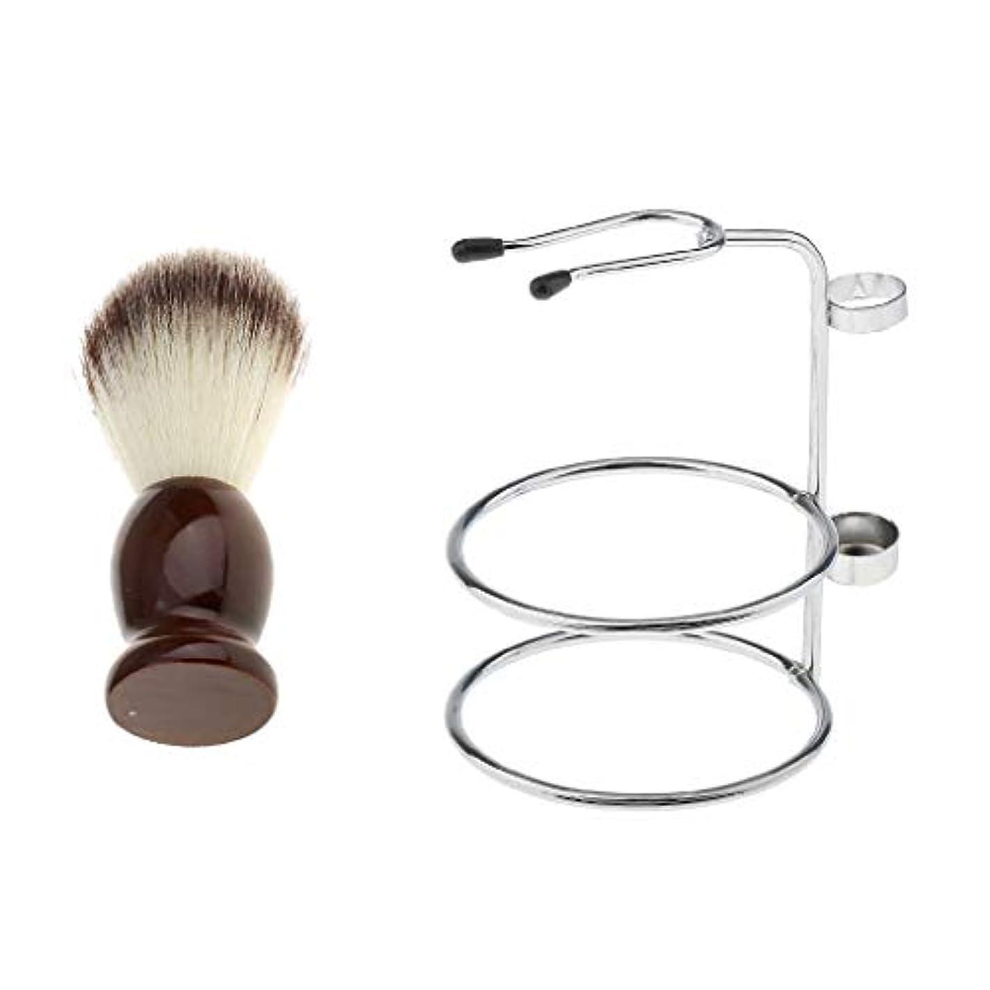 熟練した処方する独創的シェービングブラシセット ひげブラシ シェービングカミソリ スタンド 理容 洗顔 髭剃り 泡立ち