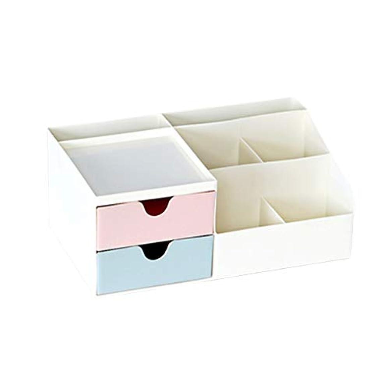 絞る関係ミルク[ユリカー] 化粧品収納ボックス 卓上収納 コスメボックス 引き出し 安定 メイクボックス シンプル 大容量 小物入れ スキンケア用品 ジュエリーケース 防水 まとめ収納 ブルー+グリーン