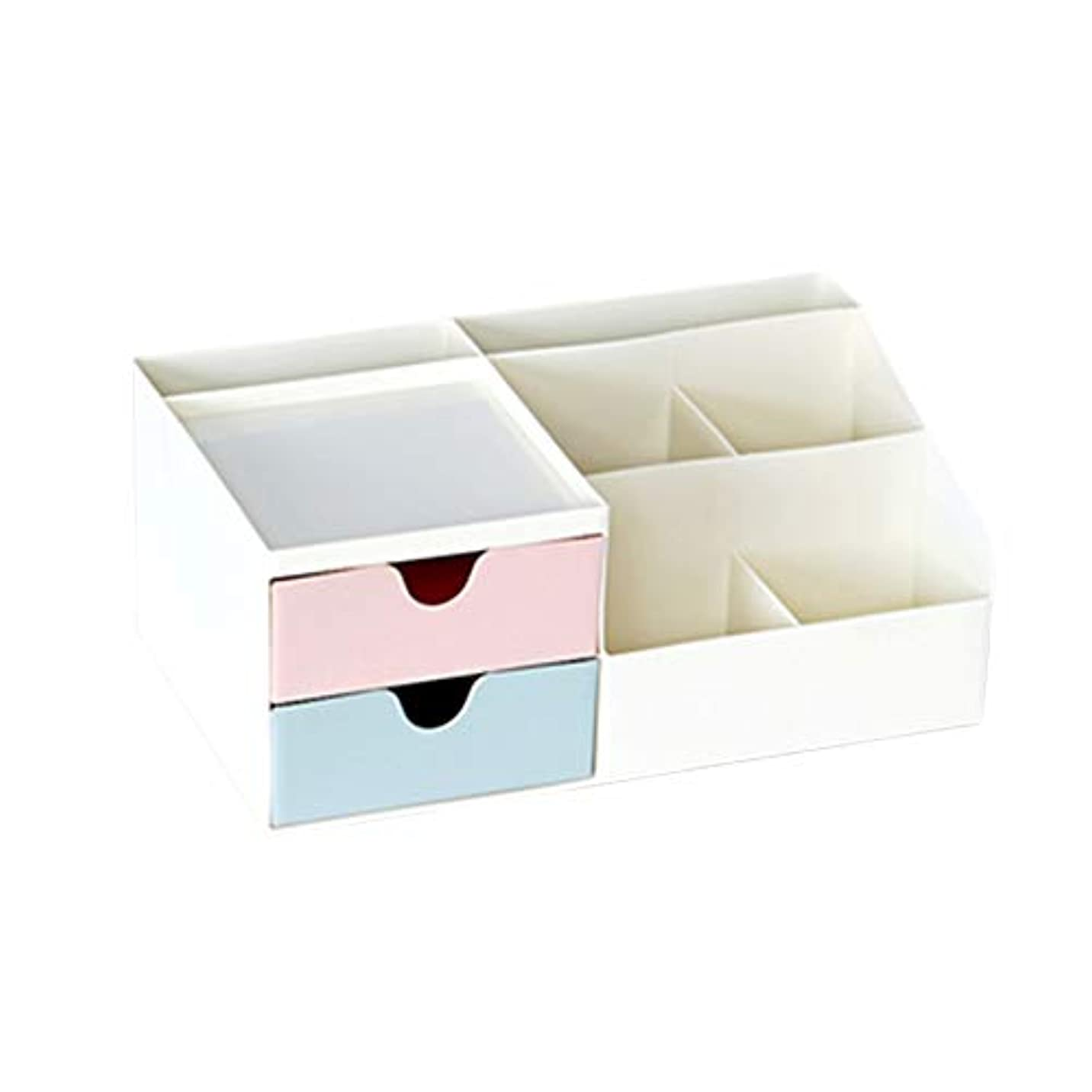 上流のアラブサラボ宅配便[ユリカー] 化粧品収納ボックス 卓上収納 コスメボックス 引き出し 安定 メイクボックス シンプル 大容量 小物入れ スキンケア用品 ジュエリーケース 防水 まとめ収納 ピンク+グリーン