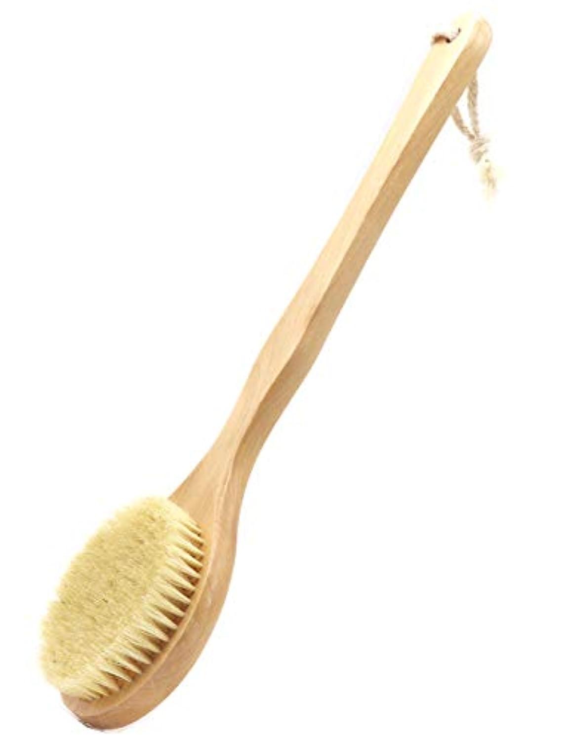 Maltose 豚毛 ボディ ボディブラシ 硬め 洗体 ボディーぶらし 背中洗いブラシ 身体洗い 柄付き 長柄 にきびの改善 角質除去