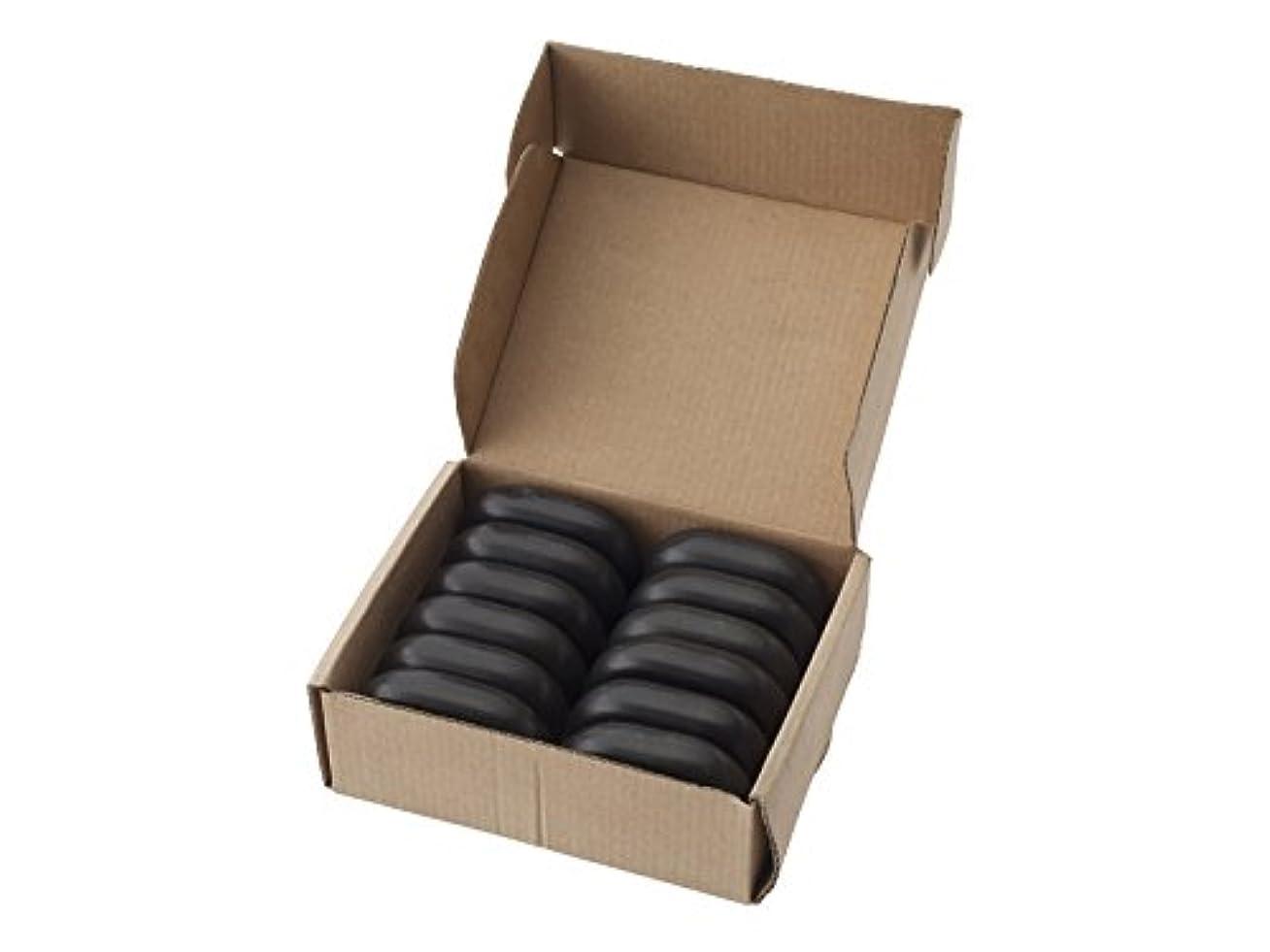 興奮する苗夕食を作る玄武岩 ホットストーン 中型(約6.5cm×約4.5cm×約1.7cm )12個セット