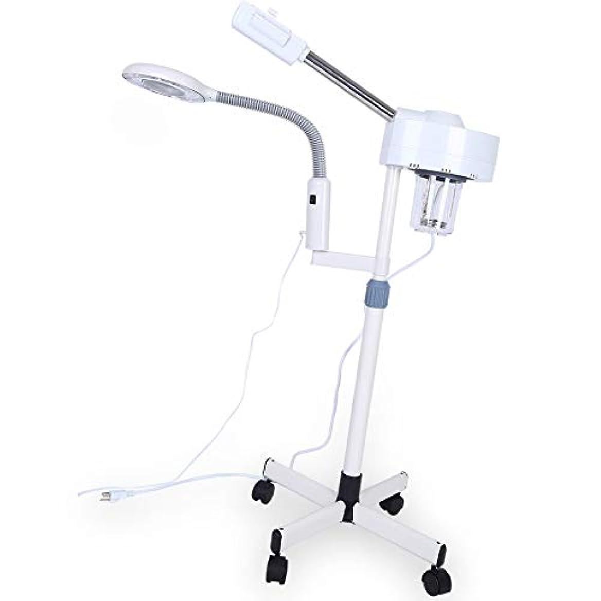 宗教見分けるピアースフェイシャルスチーマー 美容加湿器 肌ケア 3倍拡大レンズ LED ホワイト