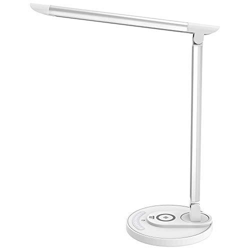 TaoTronics LED デスクライト 卓上スタンド Qiワイヤレス充電 7段階明るさ 5色のライト USB充電ポート付 目...
