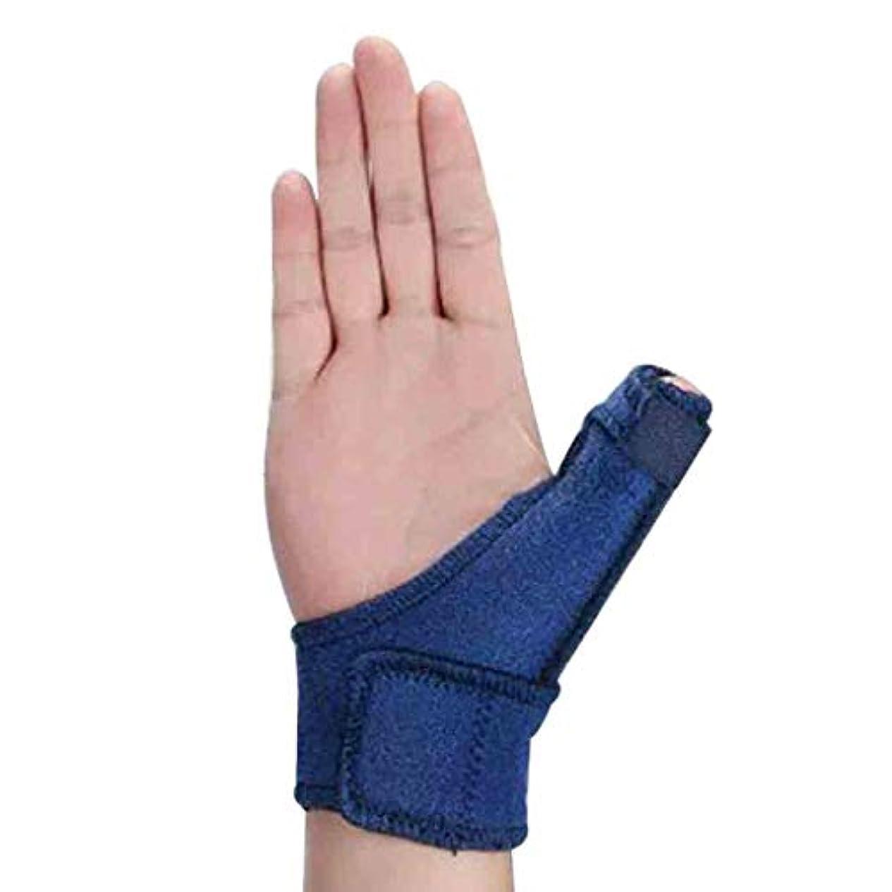 スキッパーデュアル終了するトリガーのための調節可能な親指スプリント親指リストストラップブレース親指スプリント親指関節炎痛み緩和ブレース(1個、ユニセックス、左&右の手青) Roscloud@