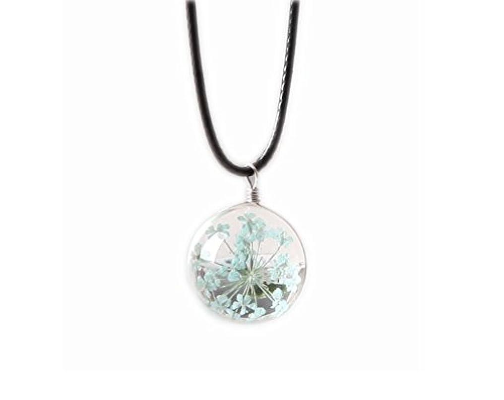 軽減立方体注文ペンダントネックレスのギフトGypsophila乾いた花のネックレス - 青