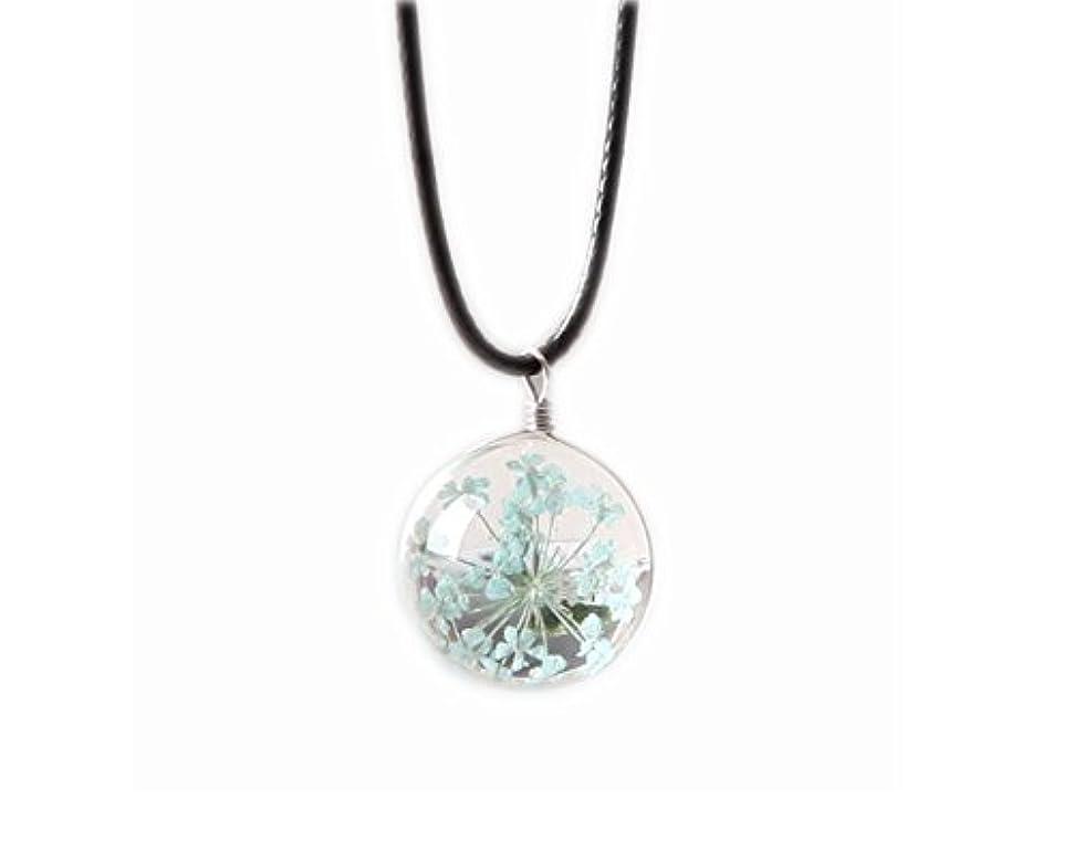 村シュリンク物思いにふけるペンダントネックレスのギフトGypsophila乾いた花のネックレス - 青
