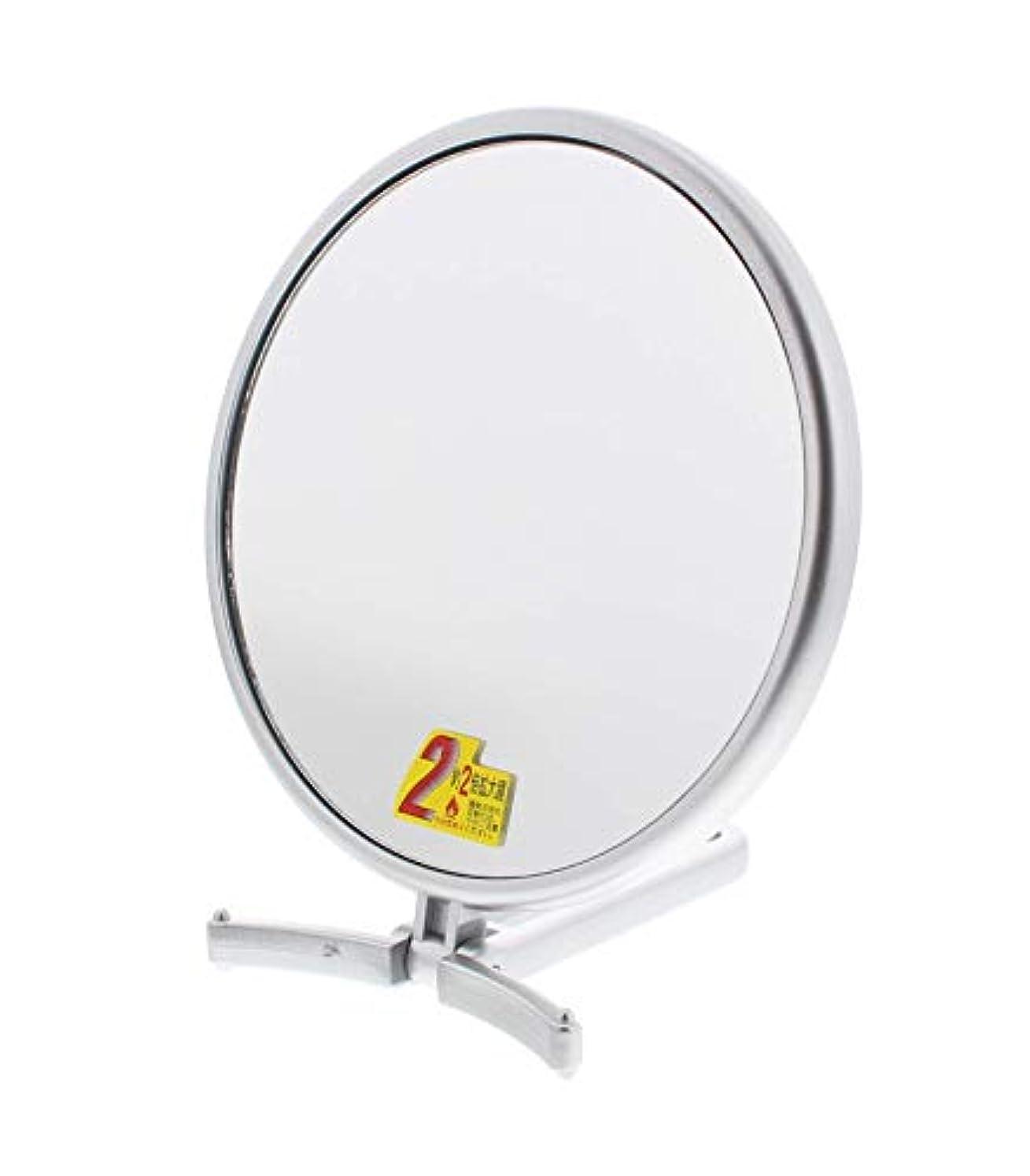 ハーブファランクスピューメリー 片面約2倍拡大鏡付折立式ハンドミラー シルバー CH-7740