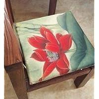 【Woliwowa】 和 モダン 美しい 赤い 蓮の花 水彩画風 イラスト 薄型 イス用 座布団 [並行輸入品]