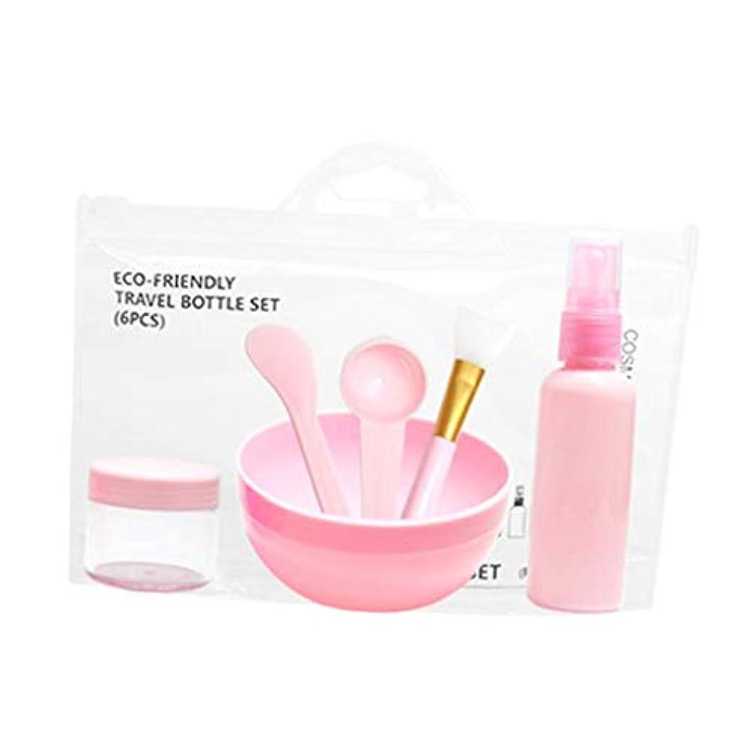毎月透けるビバHellery 6個セット DIYマスクツールセット フェイシャル メイクアップツール 計量スプーン マスクブラシ ボウル 全2色 - ピンク