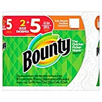 2層Bounty紙タオル、11x 101/4in、ホワイト、2パックHuge Rolls
