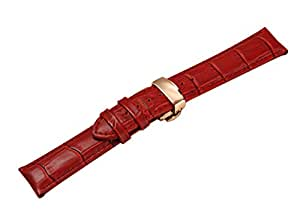 Uyoung 16 mmレディース赤本革Crocodile Grain Rose GoldenプッシュButterfly Clasp Watch Band