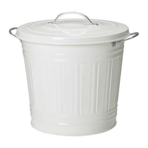 レトロ ふた付きゴミ箱 収納 分別ゴミ箱 資源ごみ ブリキ風 バケツ型ペール ホワイト 白 16L [並行輸入品]