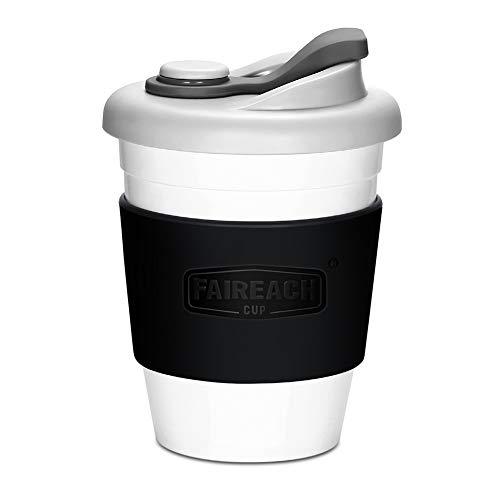 コーヒーカップ Faireach 蓋付きのコップ マグカップ 熱に強い 割れない BPAフリー 夫婦コーヒーコップセット FDA承認 滑り止めカバー付き 繰り返し使用可能 仕事用 飲み口付き 食洗機/電子レンジ対応 ブラック 340ml/12オンス