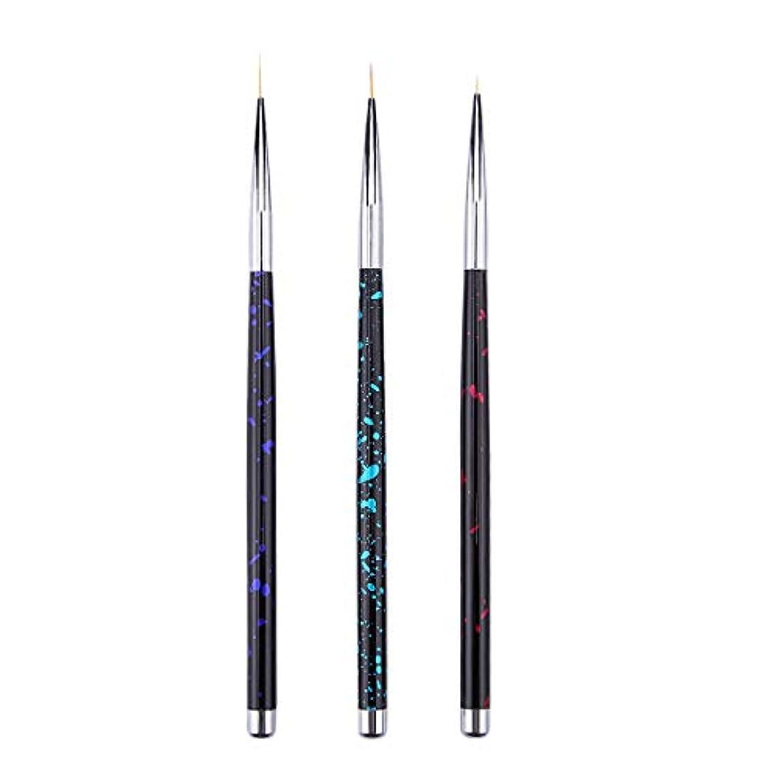 パラダイス自己尊重下にTOOGOO 3個 ネイルアートライナーブラシ タッセルフックラインペン マイクロブラシセット 花を描くペン プルペン ネイルアートアクセサリー