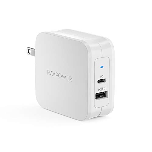 RAVPower USB-C急速充電器61W/PD 3.0対応/折畳式/2ポートUSB-A  USB-CiPhone XS/XS Max/XR/X、MacBook Pro、iPad Pro、Galaxy、Nintendo Switchその他USB-C機器対応 iSmart搭載 PSE認証済み RP-PC105