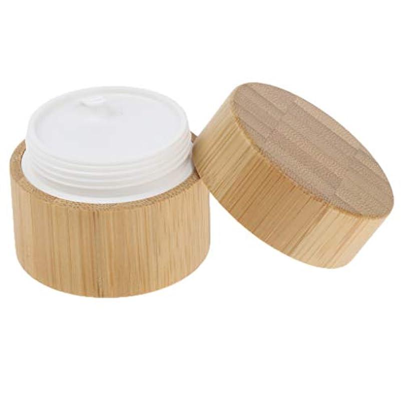 篭ところで削るナチュラル 竹木 ラウンド クリームコンテナ リップバーム コスメ 化粧品容器 2サイズ選べ - 30g
