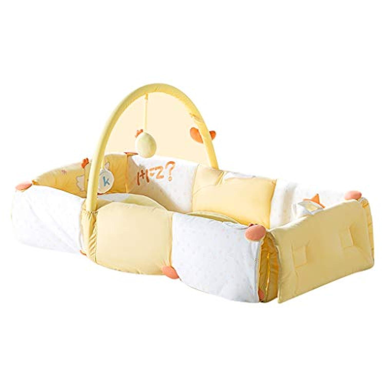 ベビーベッド 多機能トラベルベッド 新生児抗圧迫ベッド ポータブルゲームベッド 折りたたみ式リュックサックベッド (Color : Yellow, Size : 88 * 40 * 20cm)