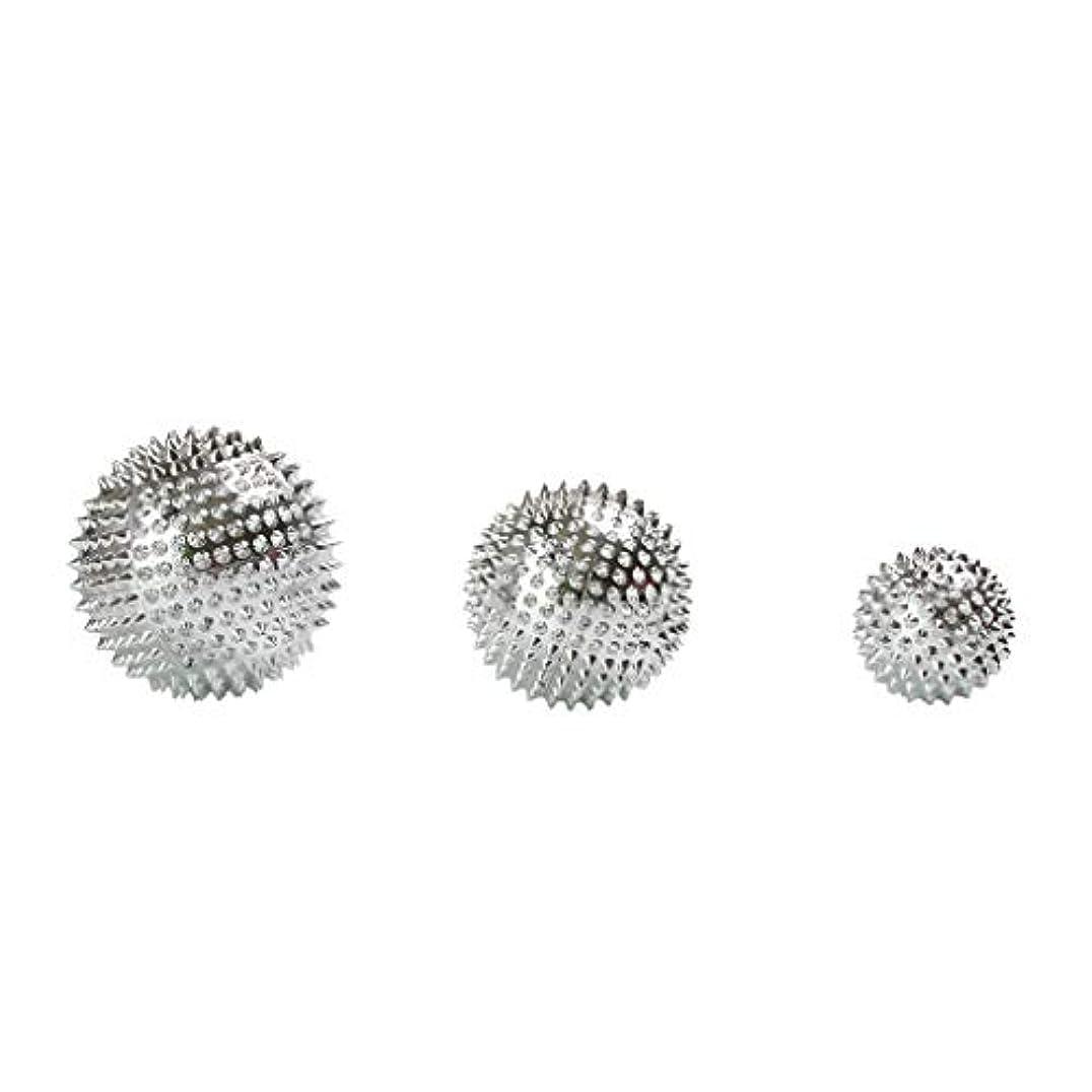 ハウジング入場女王3個セット 磁気マッサージボール スパイク ローラー マッサージ 2色選べ - シルバー