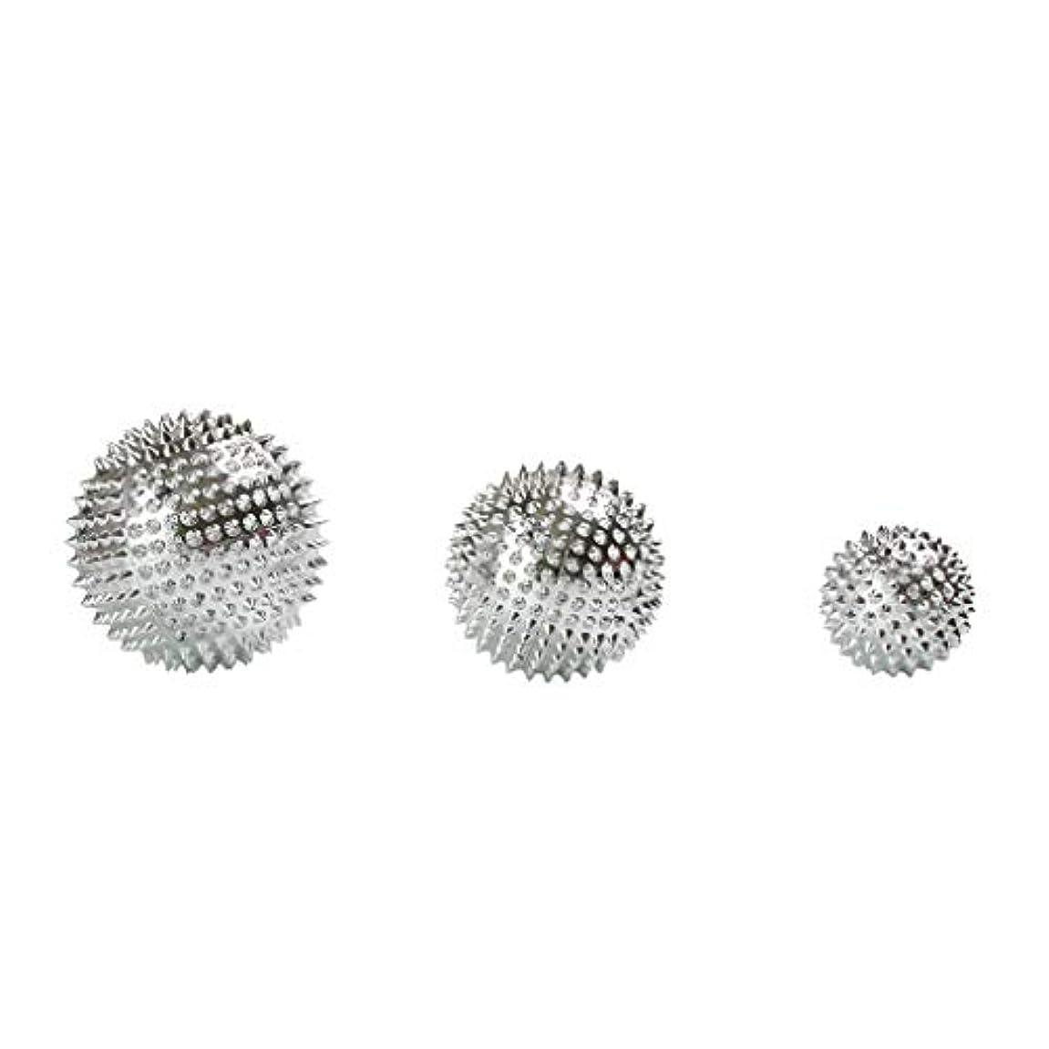 Fenteer 3個セット 磁気マッサージボール スパイク ローラー マッサージ 2色選べ - シルバー