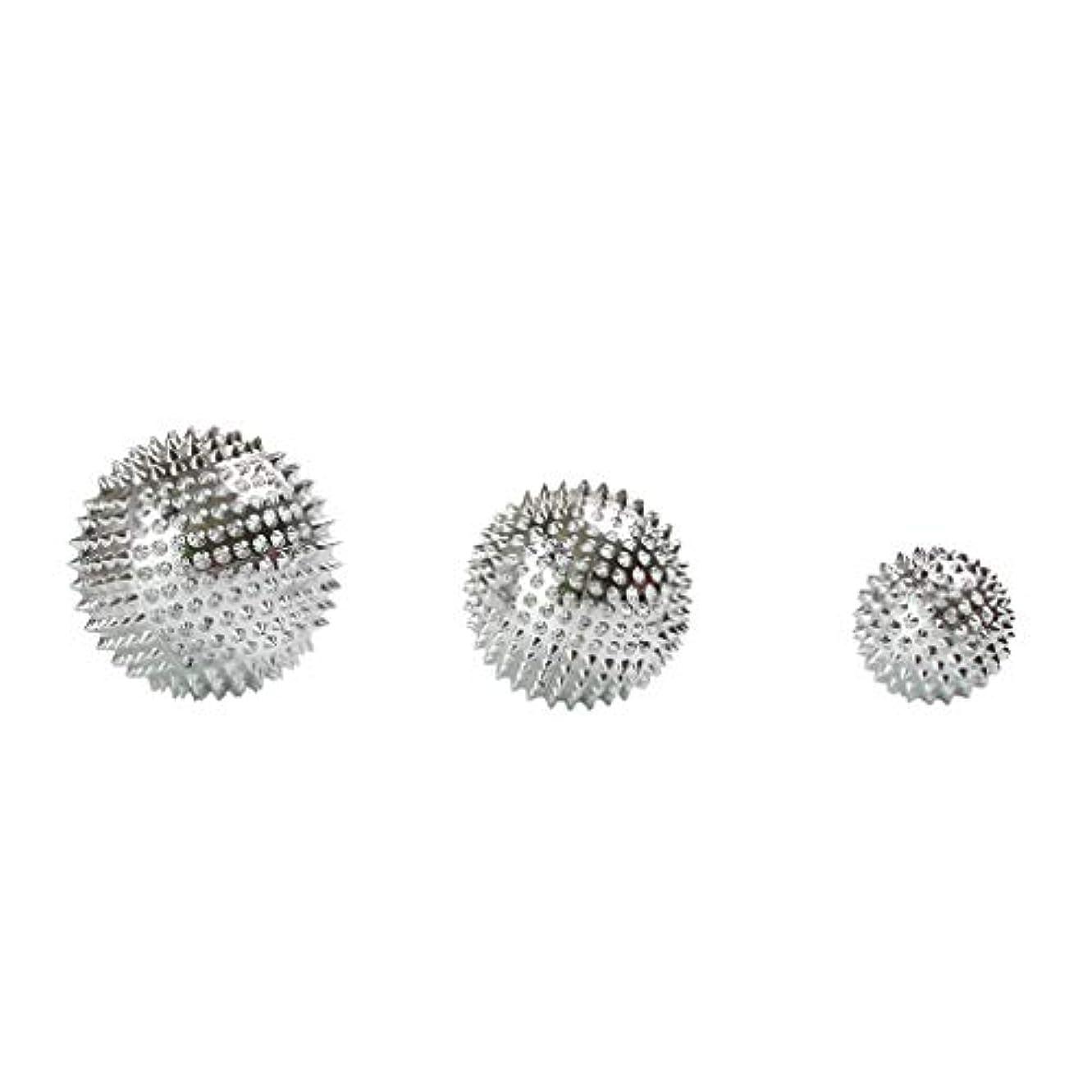 エンジニアリング迷惑小数3個セット 磁気マッサージボール スパイク ローラー マッサージ 2色選べ - シルバー