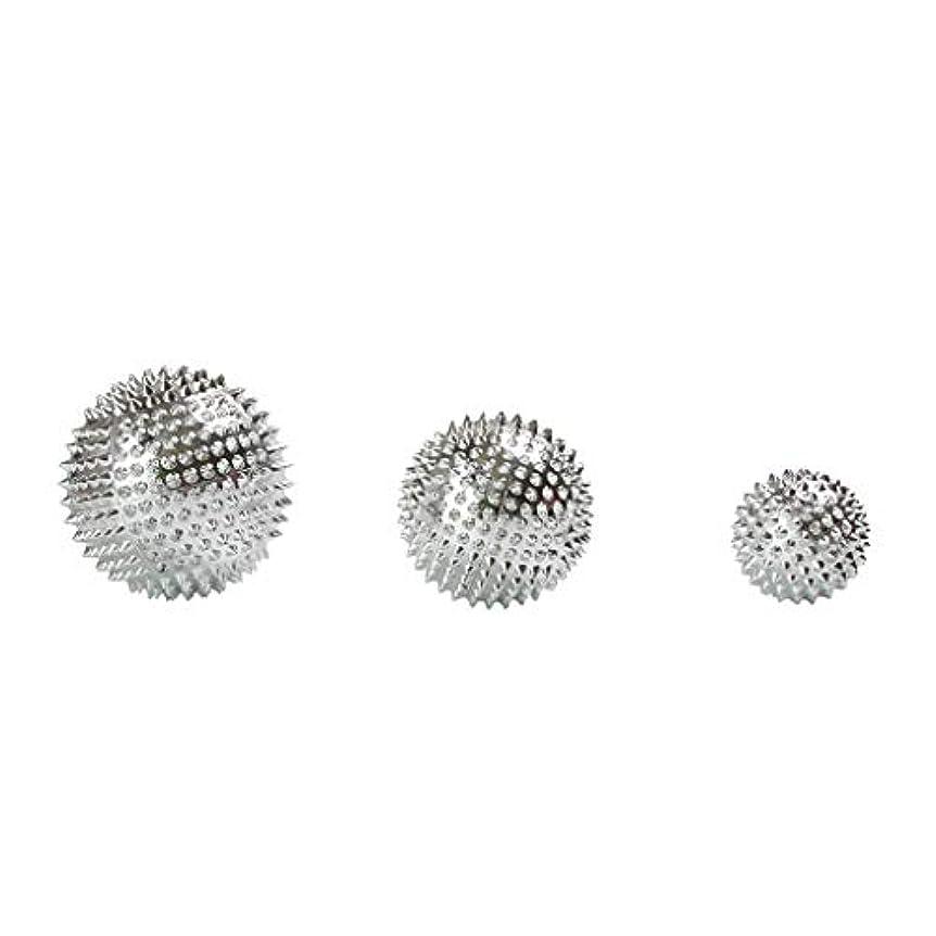 増幅器レーザ構成員Fenteer 3個セット 磁気マッサージボール スパイク ローラー マッサージ 2色選べ - シルバー