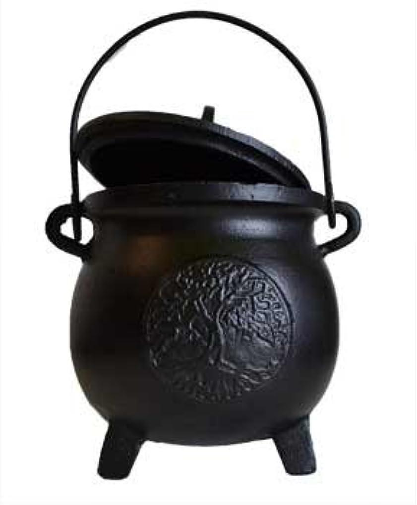 先例蓋狂うHome Fragrance Potpourris Cauldrons Tree of Life鋳鉄3つ脚でハンドルと蓋Large 8