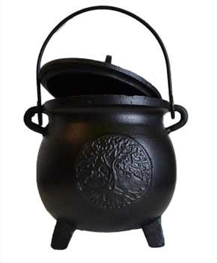 小屋ミシン数学者Home Fragrance Potpourris Cauldrons Tree of Life鋳鉄3つ脚でハンドルと蓋Large 8