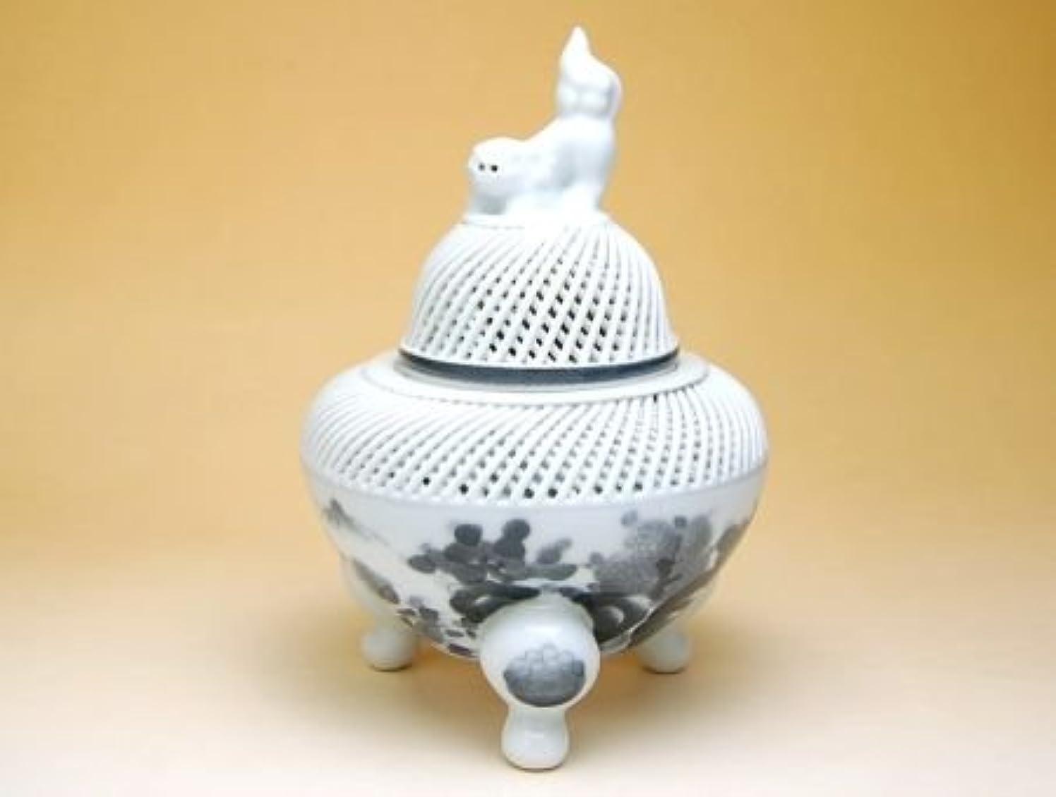 ヘルメットサンダル猫背有田焼 網目墨山水 (小)香炉【サイズ】径12cm×高さ15cm