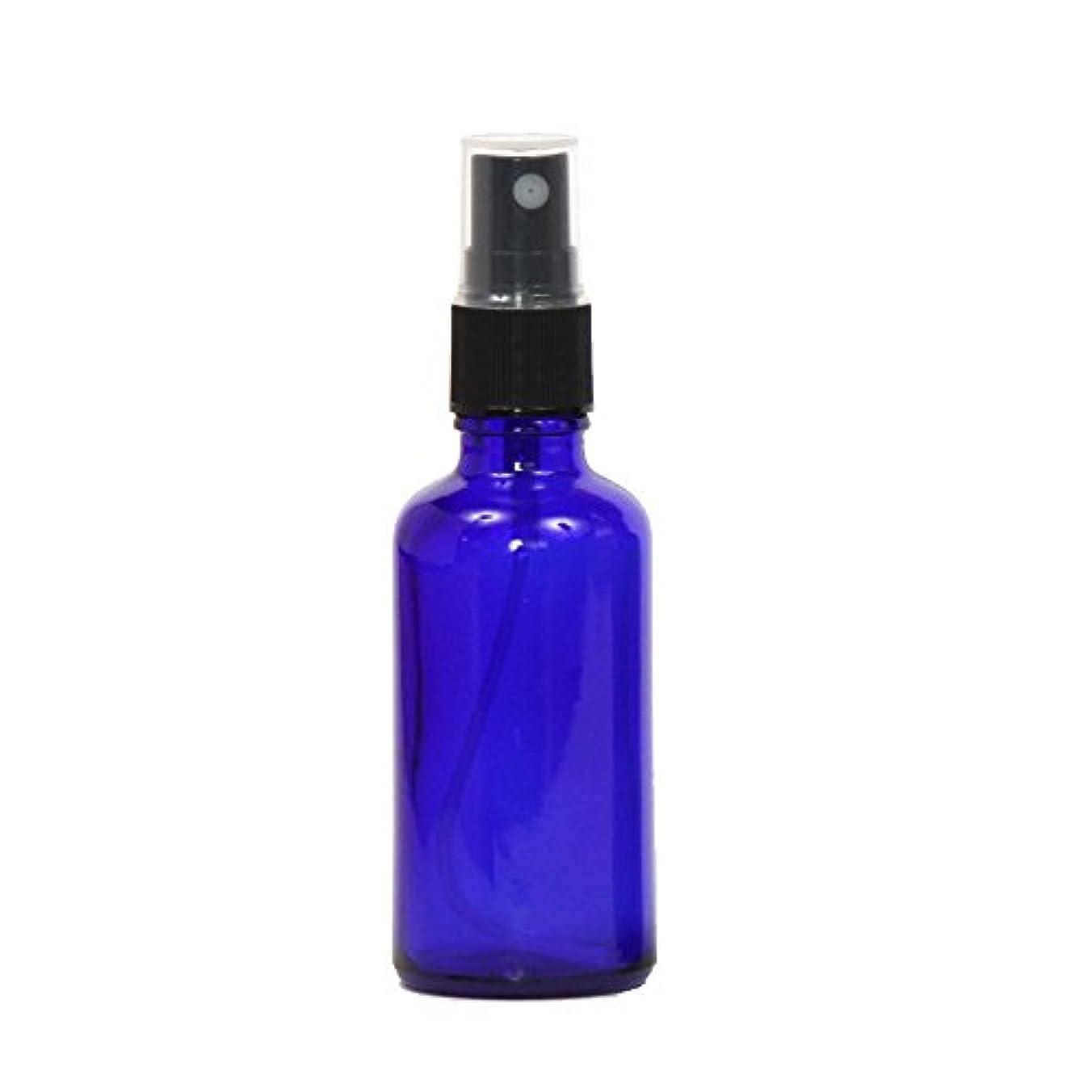 人生を作るサーマルデッドロックスプレー容器 ガラス瓶ボトル 50mL 遮光性ブルー おしゃれガラスアトマイザー 空容器bu50g