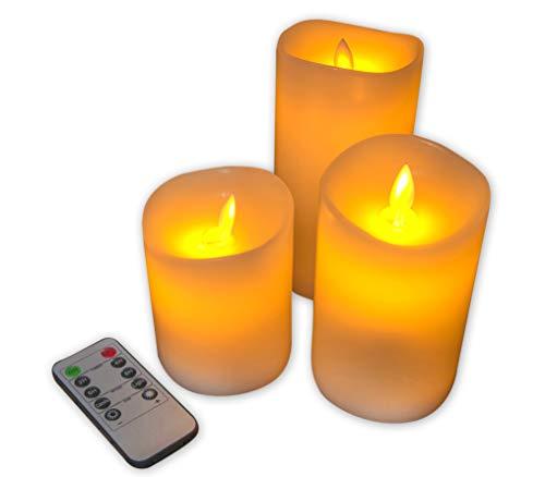 RoomClip商品情報 - Hononari 本物の炎のようにゆらめくLEDキャンドルライト リモコン付 3個セット 日本語説明書・保証書付