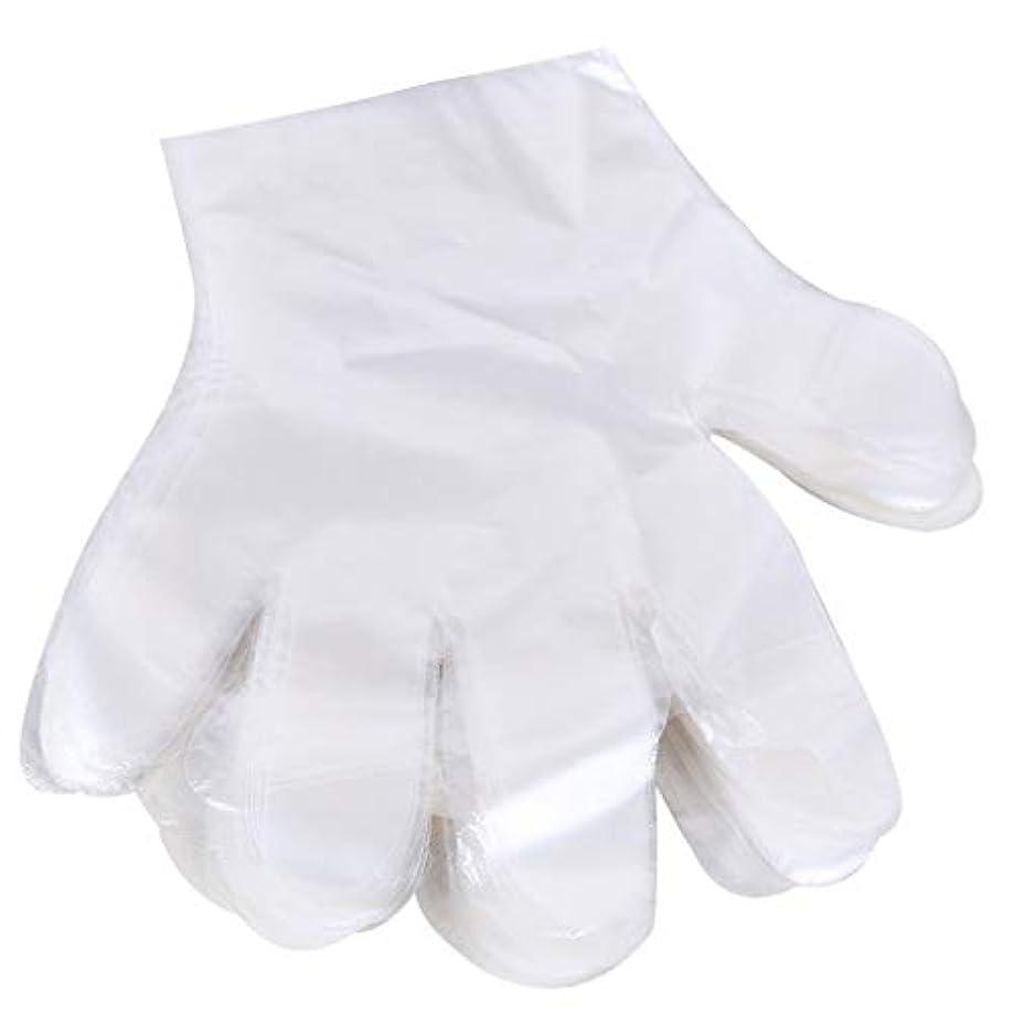 レビュアー案件レシピ1000 使い捨て手袋、ケータリングヘアマスク食品ロブスター厚い透明プラスチックpeフィルム手袋透明カバー YANW