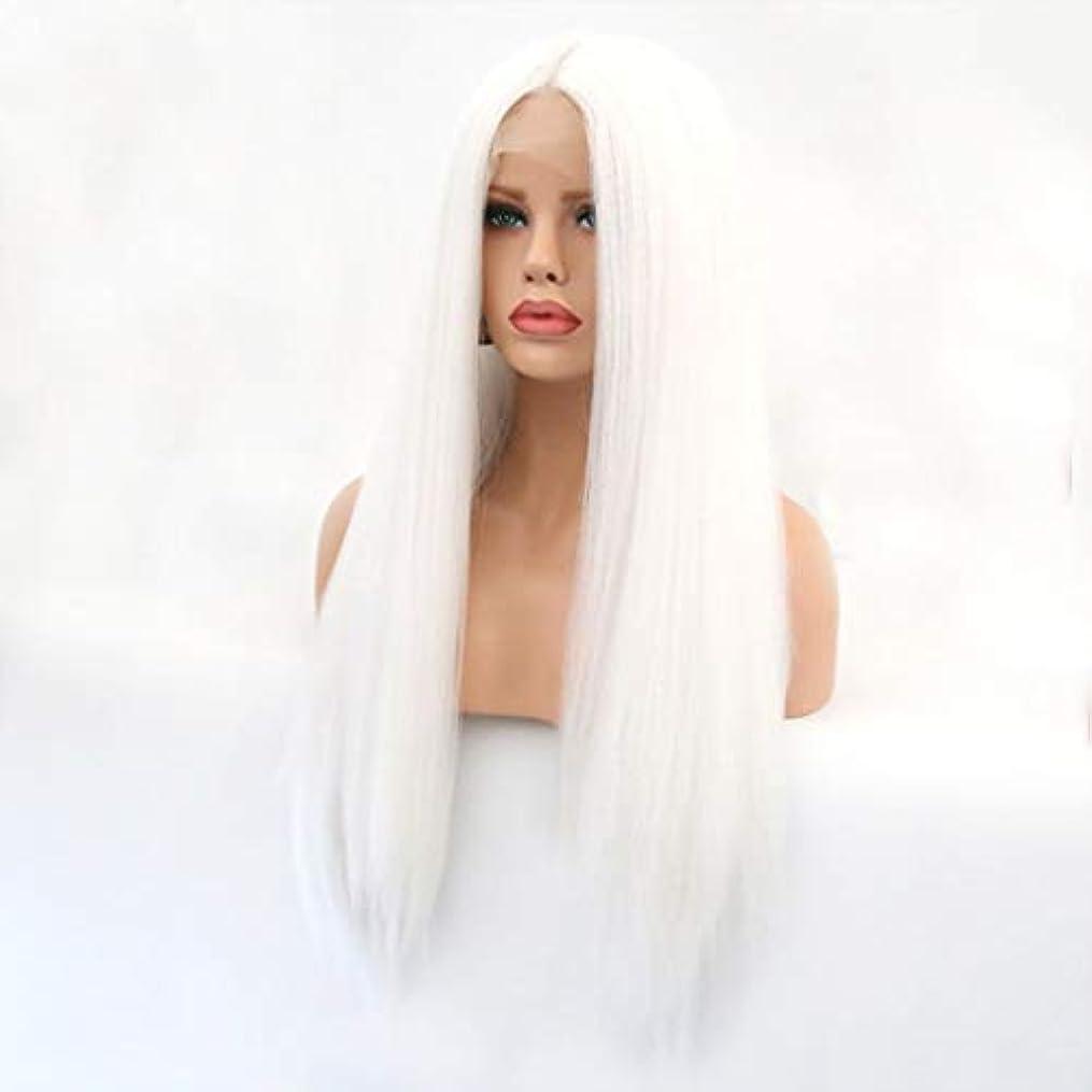 病んでいる交響曲自分Kerwinner 本物の髪として自然な女性のためのフロントレースホワイトかつらロングストレートヘア