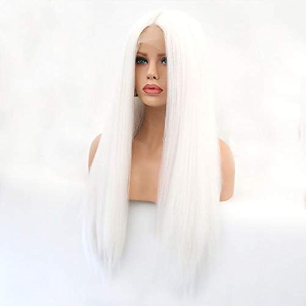 人工的な猛烈な物思いにふけるKerwinner 本物の髪として自然な女性のためのフロントレースホワイトかつらロングストレートヘア