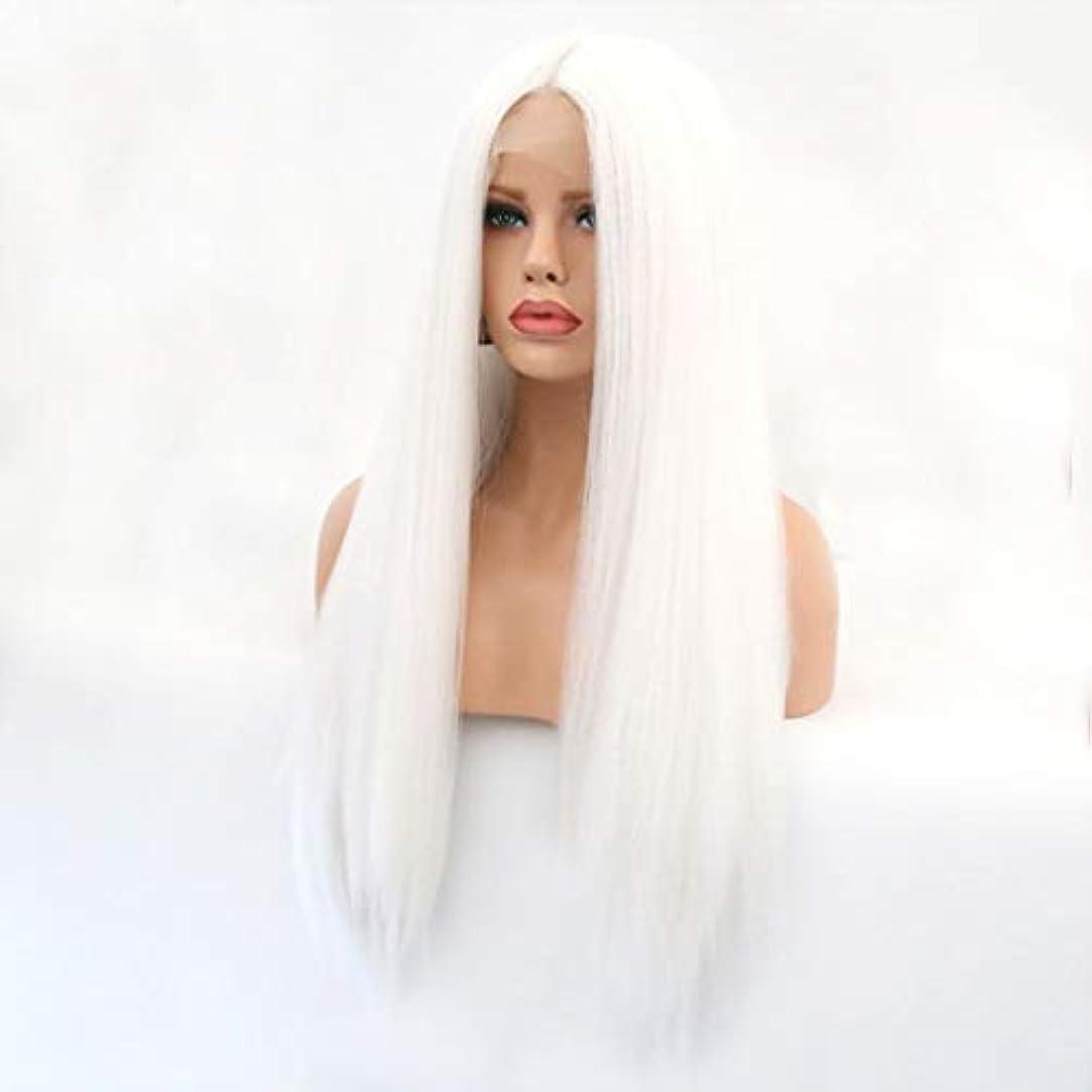 グレー割り当てるびっくりKerwinner 本物の髪として自然な女性のためのフロントレースホワイトかつらロングストレートヘア