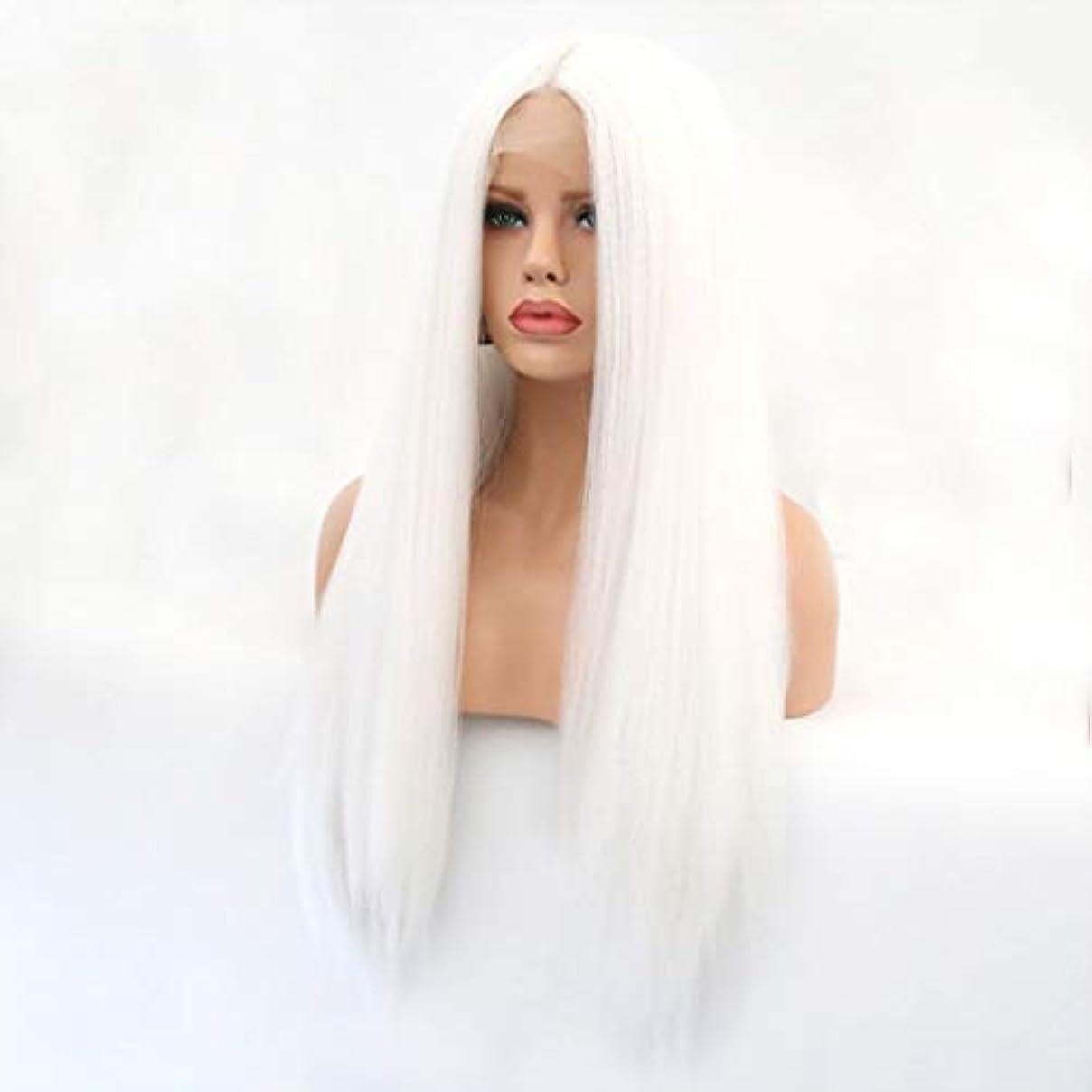 晩餐ラベ疑わしいKerwinner 本物の髪として自然な女性のためのフロントレースホワイトかつらロングストレートヘア