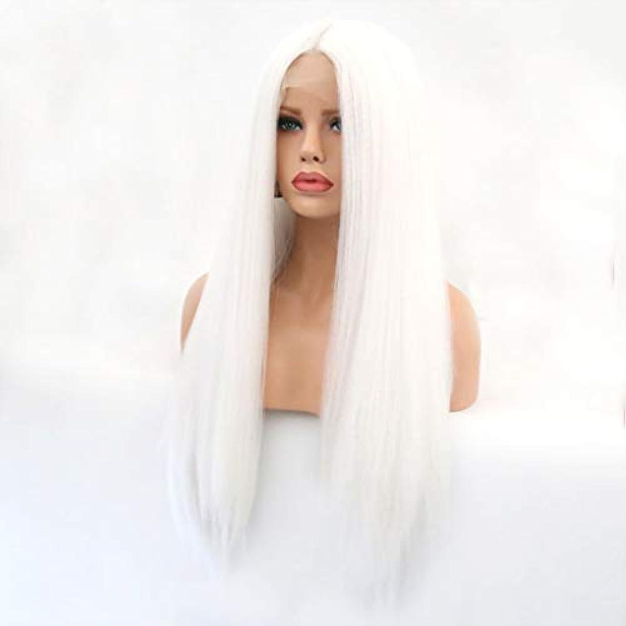 ボリューム従順スポーツの試合を担当している人Summerys 本物の髪として自然な女性のためのフロントレースホワイトかつらロングストレートヘア