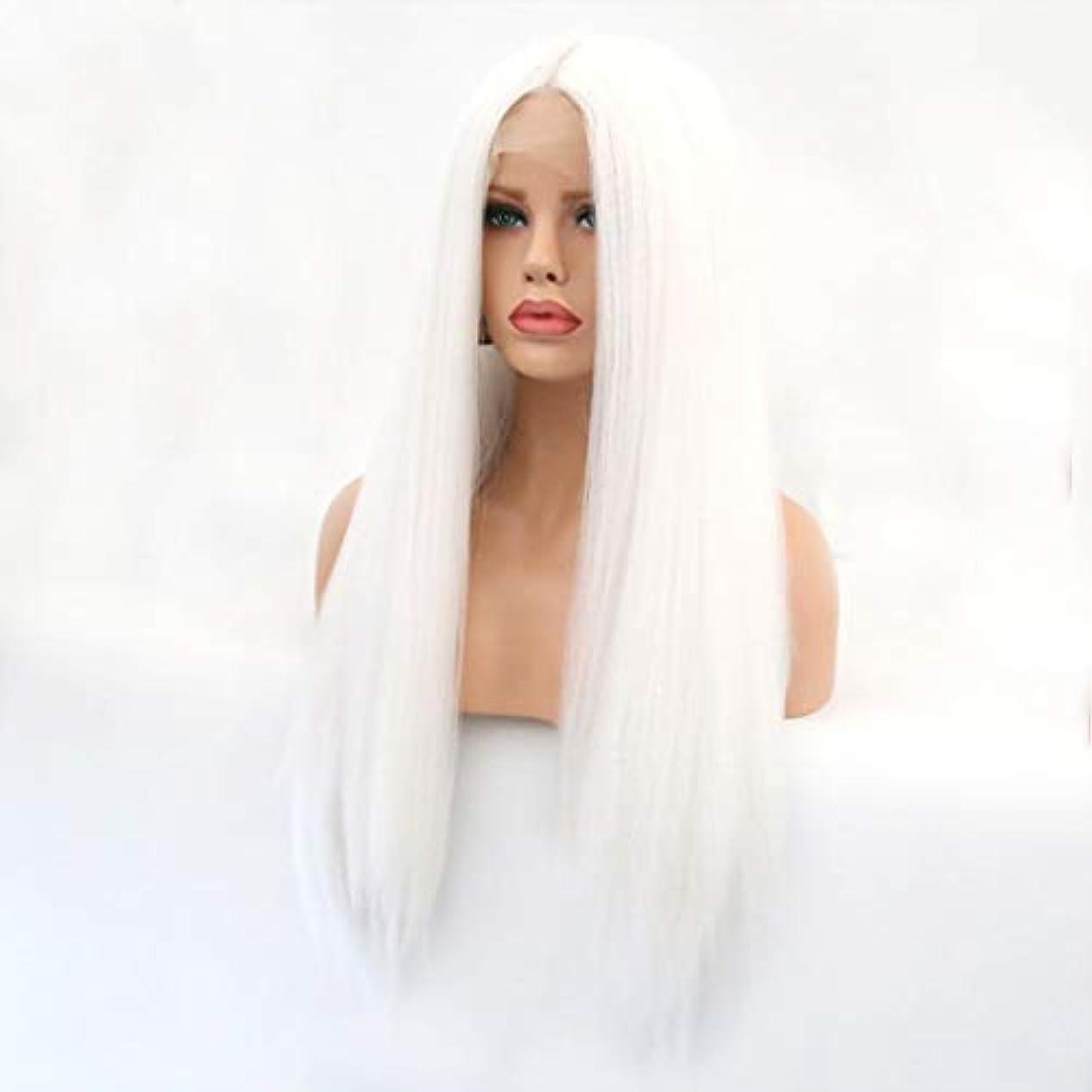 顔料薬主要なSummerys 本物の髪として自然な女性のためのフロントレースホワイトかつらロングストレートヘア